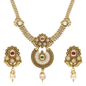 Gold cubic zirconia necklace-sets