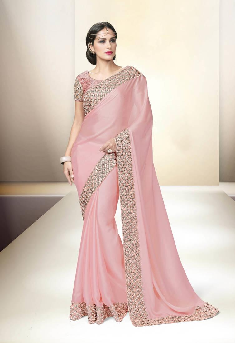 Baby pink embroidered satin saree with blouse Vishwa