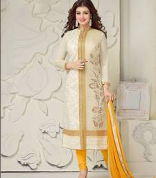 Buy Off white embroidered cotton Dress Material women-ethnic-wear online