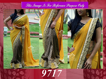 Yellow and Blue Designer georgette saree