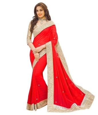 Red hand woven georgette saree with blouse