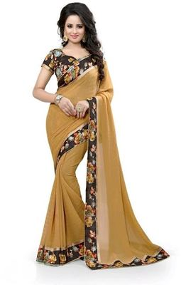 Chiku hand woven georgette saree with blouse