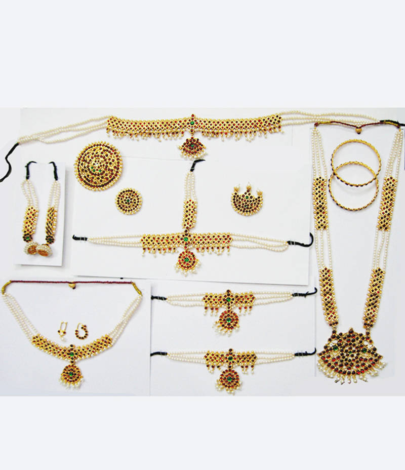 Bharatanatyam classical dance jewellery set - kemp
