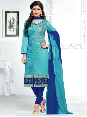 Sky Blue Chanderi Embroidered Straight Suit Dress Material