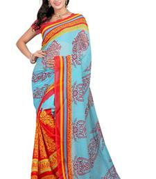 Buy Sky blue printed georgette saree with blouse
