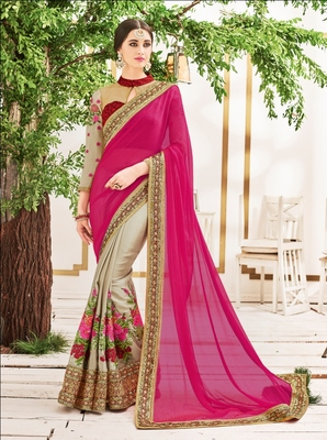 Pink and beige embroidery geogrette saree with blouse