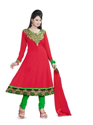 Light red embroidered georgette unstitched salwar with dupatta