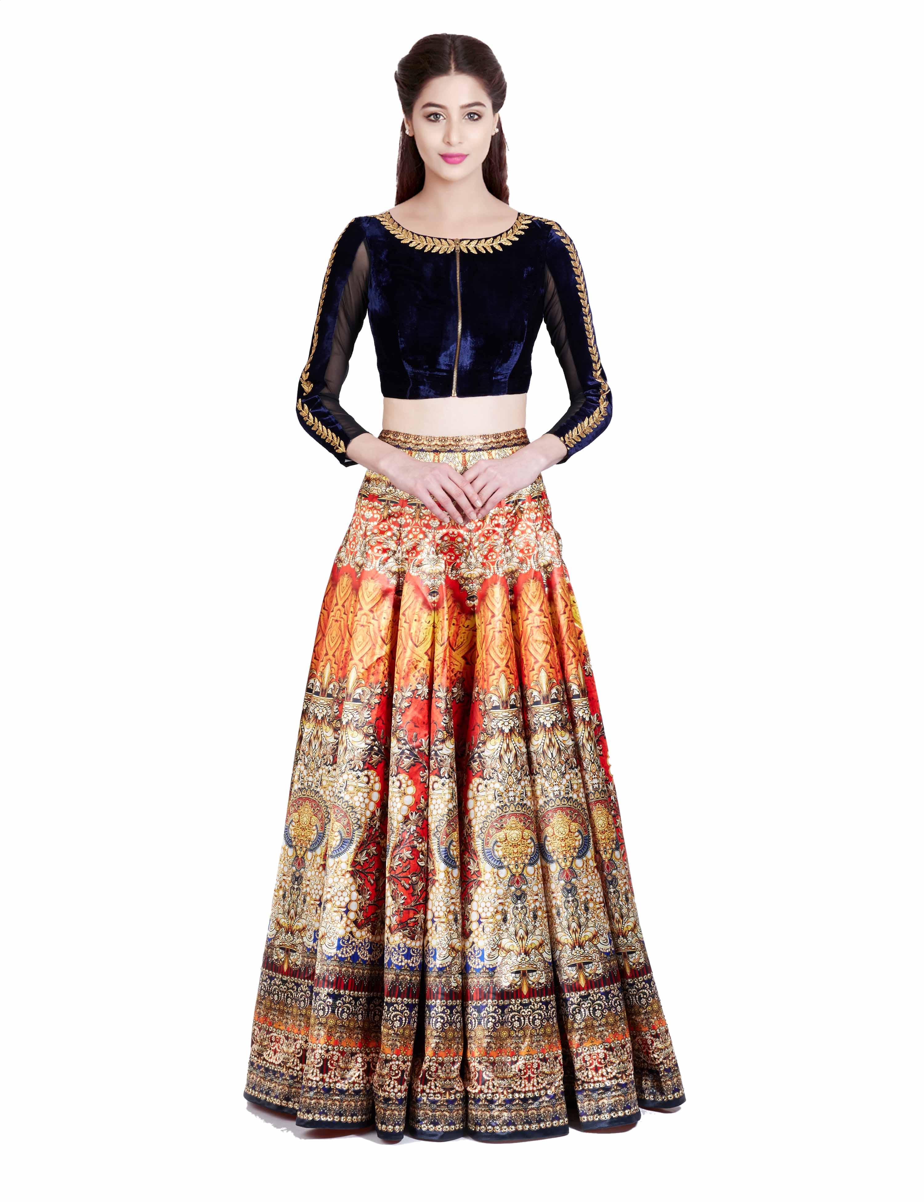 9ed01de68f Orange taffeta silk and velvet embroidered unstitched lehenga choli - SARYU  E FABRIC - 1570315