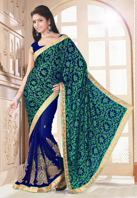 Green And Blue brasso georgette saree with blouse