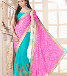 Buy Pink and Light Green brasso georgette saree with blouse brasso-saree online