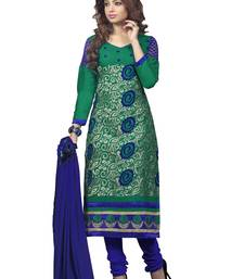 Buy Turquoise embroidered Cotton unstitched salwar with dupatta dress-material online