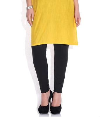 Black cotton lycra leggings