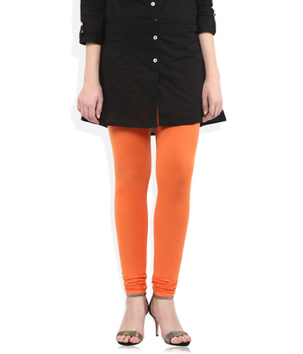 Orange cotton lycra leggings