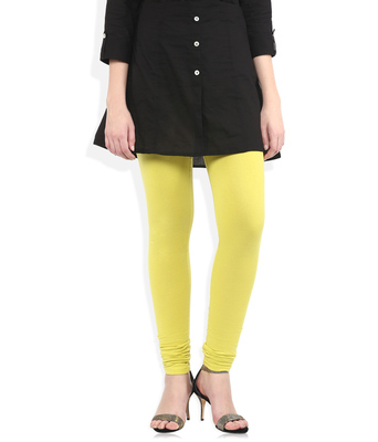 Yellow cotton lycra leggings