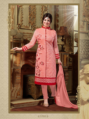 Pink embroidered Chanderi unstitched salwar with dupatta