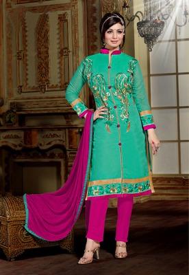 Light Green embroidered Chanderi unstitched salwar with dupatta