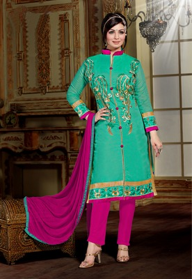 Light Green embroidered Chanderi unstitched salwar with dupatta