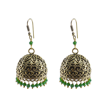 Tribal Jhumka With Green Crystal -Antique Silver Polished Jhumka-Punjabi Wedding jewelry