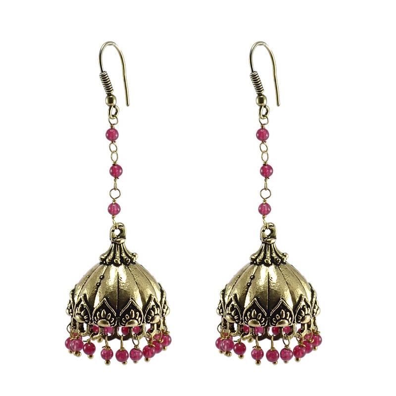 Kanjivaram Beads: Trendy Pink Quartz Beads Brass Jhumki Earring