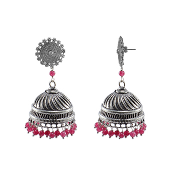 Tribal Collection -Jaipuri Jhumka Earrings Jewlery With Pink Quartz And Floral Studs