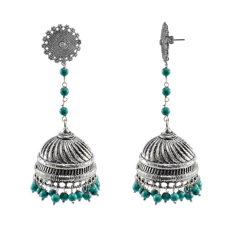Kanjivaram Beads: Indian Earrings Jhumka With Turquoise Beads With Floral