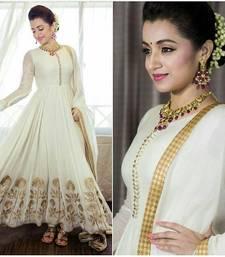 Buy White embroidered pure bhagalpuri semi stitched salwar with dupatta anarkali-salwar-kameez online
