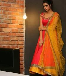 Buy Orange embroidered pure bhagalpuri semi stitched salwar with dupatta semi-stitched-salwar-suit online
