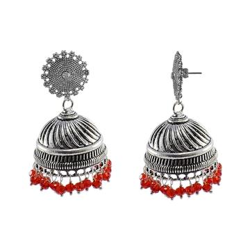 Antique Jaipuri Style Oxidized Red Beads And Floral Jhumki Earrings-Jaipuri Night-