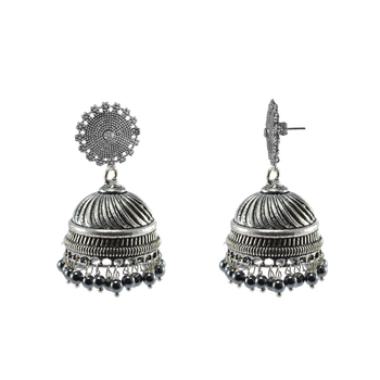 Temple Floral Jhumki Earrings With Hematite Beads-Indian Garba Festival Jewellery