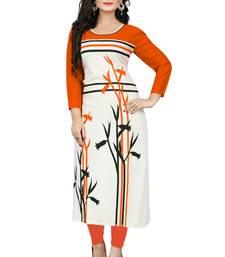 Buy Vaikunth Fabrics Orange And White Printed Rayon Kurti multicolor-kurti online