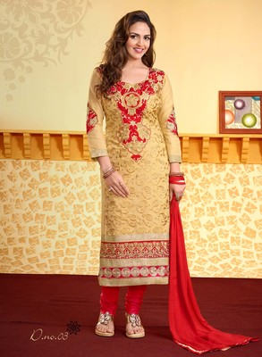 Beige Cotton Embroidered Straight Suit Dress Material