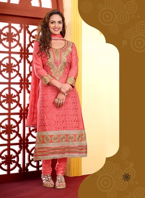 Light red cotton embroidered Straight Suit Dress Material