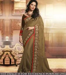 Buy Chiku embroidered georgette saree with blouse tamanna-bhatia-saree online