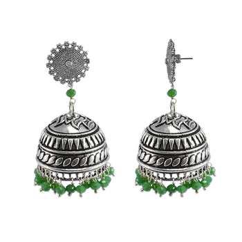 Seductive 29.2 Grams Handmade Alloy Oxidized 3 Mm Green Crystals And Floral Jhumki Jewellery