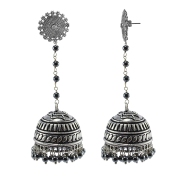 Contemporary Floral Jhumki Earrings Filled With Sleek Black Hematite Beads
