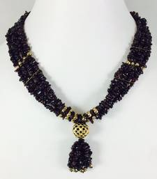 Buy hand made wedding necklace made with copper bead with pure gold plating and semi precious stone Garnet Pendant online