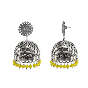 Large Vintage Tribal Jewellery-Yellow Crystal Dangle Earrings-Floral Jhumki With Beautiful Beads-