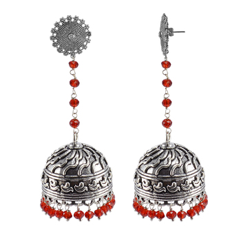Large Statement Jhumka-Tribal Earrings-Red Crystal Beads And Floral Jhumki-Tribal Jewellery-