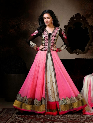 Pink net  and  georgette embroderied semi stitched salwar with dupatta