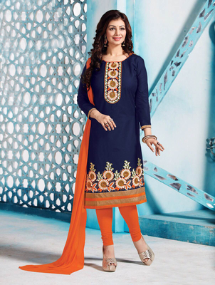 Blue and orange cotton embroderied semi stitched salwar with dupatta