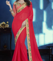 Buy Dark pink embroidered chiffon saree with blouse party-wear-saree online