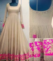 Buy cream Silk embroidered semi stitiched salwar with dupatta party-wear-salwar-kameez online