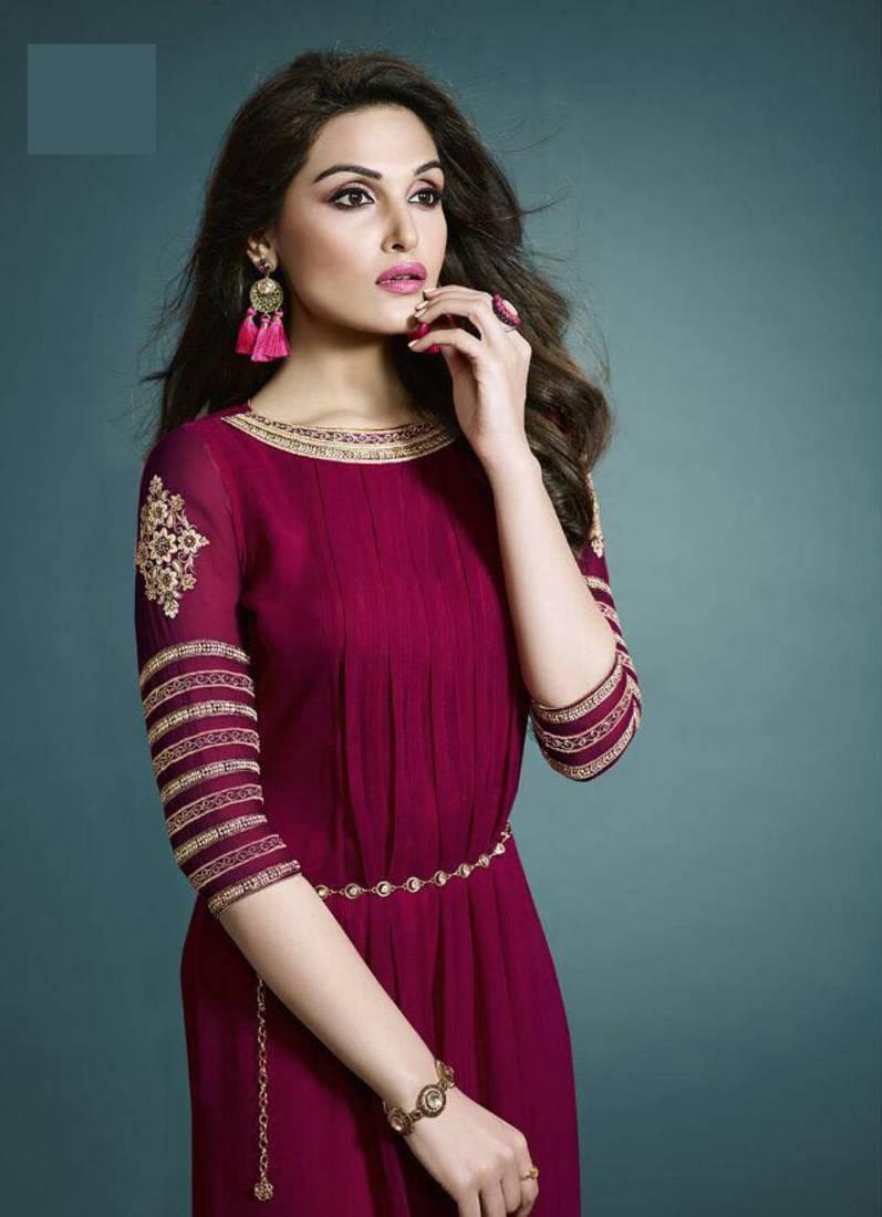 a7b01151e maroon embroidered georgette semi stitched kurtis - Gopinath ...