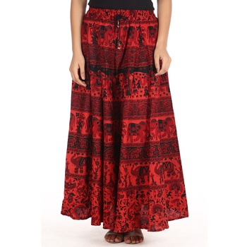Red printed Cotton skirts