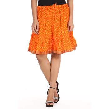 Orange printed Cotton skirts