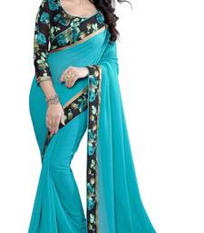 Buy Blue printed georgette saree with blouse Saree online