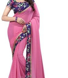 Buy Pink printed georgette saree with blouse Saree online