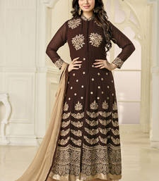Buy Dark brown embroidered georgette semi stitched salwar with dupatta ayesha-takia-salwar-kameez online