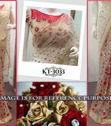 Buy Beige embroidered georgette saree wedding-saree online