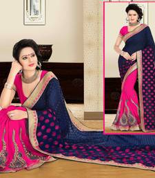 Blue and Pink embroidered georgette saree with blouse shop online